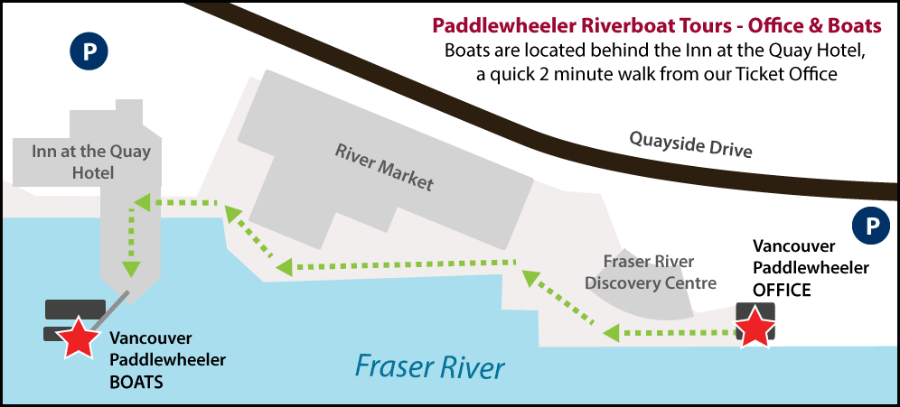 Vancouver Paddlewheeler, Office and Boat Dock locations, New Westminster, BC